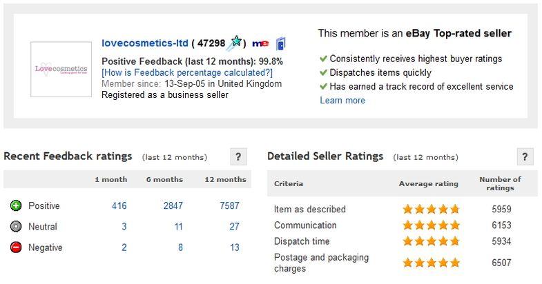 eBay feedback score