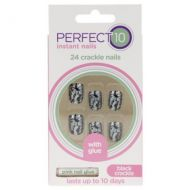 Perfect 10 Instant 24 Crackle Nails Black And Silver