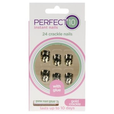 Perfect 10 Instant 24 Crackle Nails Gold and Black
