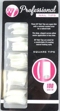 W7 100 Professional Nail Tips Natural Square